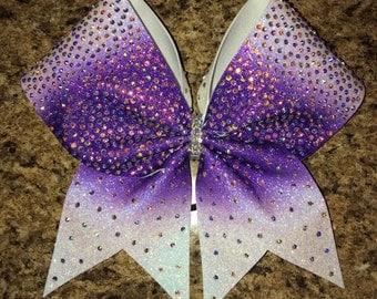 rhinestone bow, ombre bow, purple bow, competition bow, cheer bows
