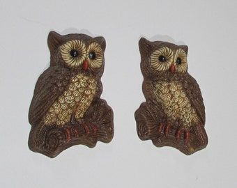 Owl Wall Plaques ~ Set of 2 ~ Home Interior ~ Homco ~ Foam and Resin Owl Wall Hangings ~ Brown Owls ~ Retro 1970's