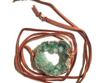Green Druzy Leather Wrap Bracelet