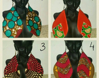 PETIZ African Print Large Shallot Earrings