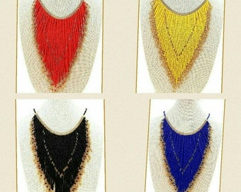 Handmade Beaded Fringe Statement Necklaces in 4 Colours On Sale