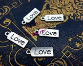 5 Love Tag charms, Love word charms