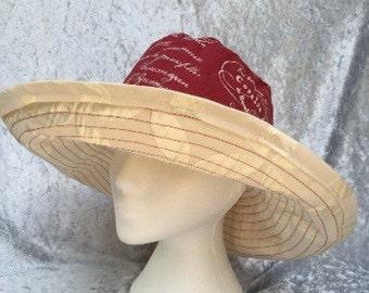 Red sun hat, white sun hat, French sun hat, cotton sun hat