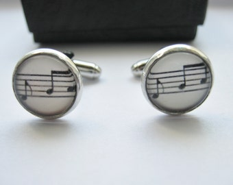 "Music Cufflinks Musical Score 14mm (1/2"") Musician Cuff Links Mens, Boys, Groomsmen Gifts, Music Jewelry Gifts, Men Stocking Stuffer Filler"