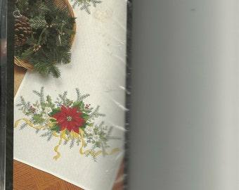 Bucilla:  Stamped Embridery Victorian Poinsetta Table Runner Kit