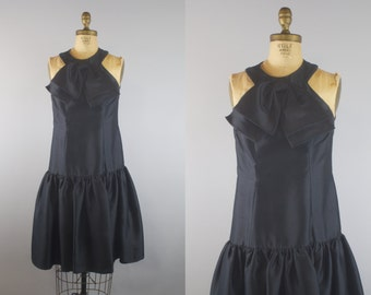 1950s Black Silk Party Dress / 50s Dress / 1950s Dress