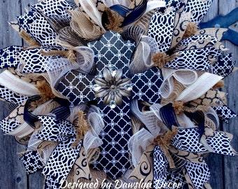 Black and White Cross Deco Mesh Wreath Burlap Wreath Ruffle Wreath