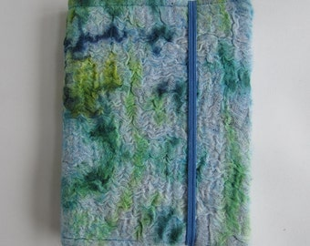 A6 nuno felted, removable, green and blue book cover supplied complete with hard-backed,lined A5 notebook