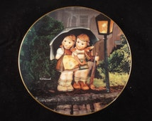 """Stormy Weather Hummel Plate  Singing in the Rain  8.25"""", Little Companionsn Collector's Plate, Vintage, ,Original Packaging and Certificate"""
