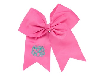 Monogrammed Pink Hair Bow