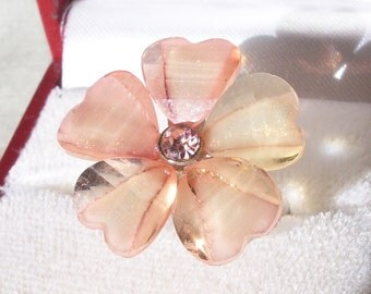Vintage Plumeria Flower Ring with Pink Murano Glass and Rhinestone