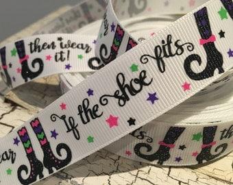 """3 yards 7/8"""" Halloween Glitter Shoe Witch If shoe fits wear it grosgrain ribbon"""