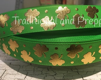 "3 yards 7/8"" St Patrick's Shamrock Gold Foil on Green Grosgrain Ribbon"