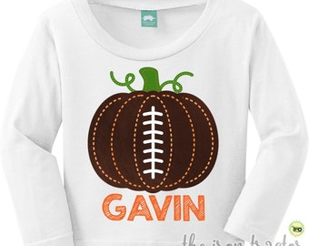 Football Pumpkin Shirt or Bodysuit for Halloween or Thanksgiving Outfit Add a Name for Free