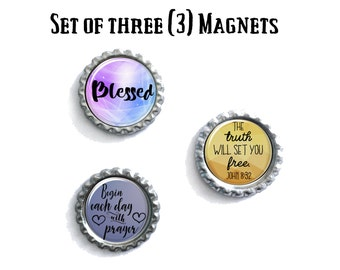 Fun Party Favors, Fridge Magnet Set of Three, Bottlecap Accessories, Gifts For Bestfriends, Pastor, Preacher Present Ideas, Photo gift
