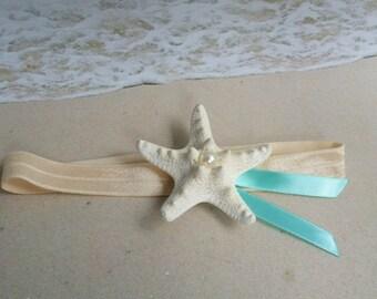 White Knobby Starfish Pearl & Ribbon Headband -  Beach Wedding Hair Accessory - Flower girl flowergirl  Mermaid pictures head band