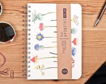 Planner 2016 September - 2017 September. Year Weekly Life Academic Calendar Diary Agenda Day Spiral A5 Floral Flower Calendrier Kalenteri