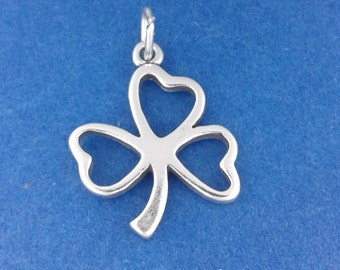 Shamrock or Clover Charm, Good LUCK .925 Sterling Silver Charm