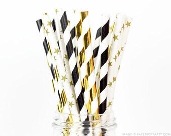 25 Celebration, Metalic and Black Paper Straws