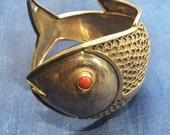 Sterling silver 1940's fish cuff/bracelet