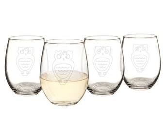 Owl 21 oz. Stemless Wine Glasses (Set of 4)