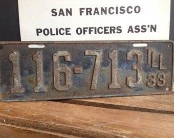 1933 Illinois License Plate