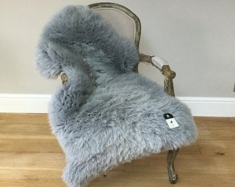 Silver Grey gray Sheepskin Rug luxurious genuine beautifully soft eco rug,  pale grey, hygge, chair cover, bed cover, rug , carpet, throw
