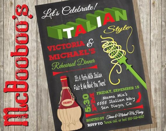 chalkboard italian poster rehearsal dinner invitation with