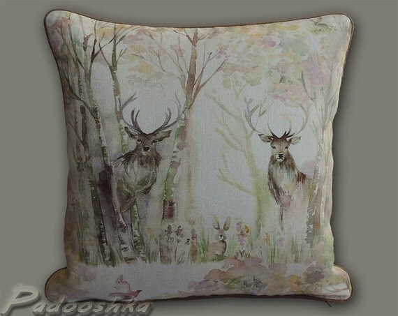 deer pillow cover enchanted forest watercolor woodland animal