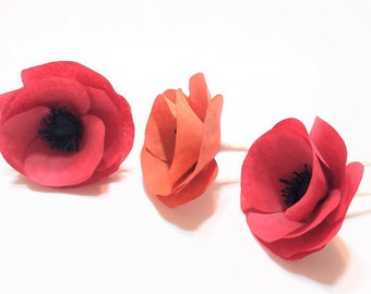 Poppies, Red paper Poppies, Orange Poppies, Paper Poppy, Coffee filter paper poppies, Poppy paper flowers, Coffee filter flowers