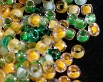 Seed Beads 1 tube Green and YellowJewelry or Craft Supply DIY handmade necklace earrings bracelet