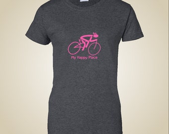"Women's bicycle shirt ""My happy place"""