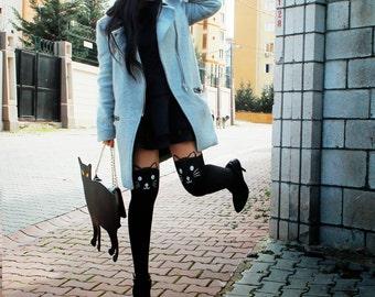 Stylish Cat Stockings . Cat Tattoo Socks . Sheer Pantyhose Mock Stockings Tights.
