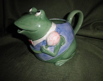 Frog Pitcher Handcrafted by Mary Ann Bar
