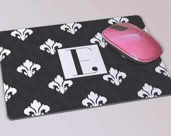 Fabric Mousepad, Mousemat, 5mm Black Rubber Base,  19 x 23 cm - Fleur De Lys Black and White Pattern Monogram Mousepad Mousemat