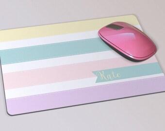 Fabric Mousepad, Mousemat, 5mm Black Rubber Base, 19 x 23 cm - Pastel Stripes Customised Mousepad Mousemat