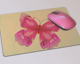 Fabric Mousepad, Mousemat, 5mm Black Rubber Base, 19 x 23 cm - Pink Butterfly Design Mousepad Mousemat
