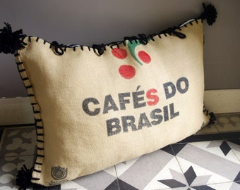 Floor pillow from cafe bags