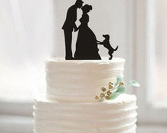 Bride, Groom, and Dog Wedding Cake Topper