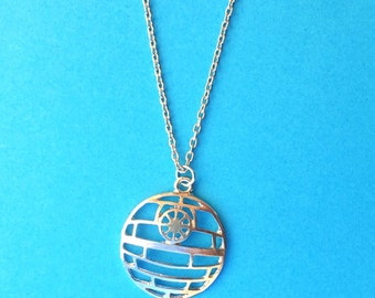 """Handcrafted """"Death Star"""" Silver Charm Necklace - Your Choice of Chain Length - Star Wars Inspired"""