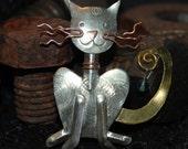 Mixed Metals Vintage Kitty Cat Brooch #BKC-KBRCH83