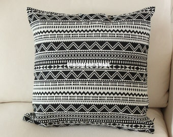 Tribal Pillow Cover Bohemian Decor Mexican Cushion Cover Aztec Pillow Ethnic Pillow Case Navajo Pillow Black White Striped Custom Any Size