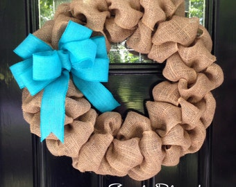 Simple Burlap Wreath for front door or accent - CHOICE of BOW COLOR!