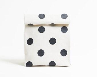 Kamibukuro/Polka dot-Inkblack/paper bag shape multipurpose pouch, travel goods organizer