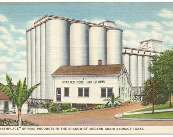 Battle Creek, Michigan Birthplace of Post Products in the Shadow of Modern Grain Storage Tanks Linen Era Postcard