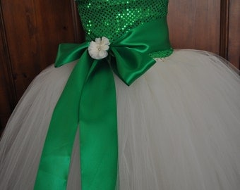 Green Ivory Flower Girl Dress, Toddler Green Ivory Dress, Infant Green Ivory Dress, Baby  Green Ivory Dress, Green Ivory Tutu Dress