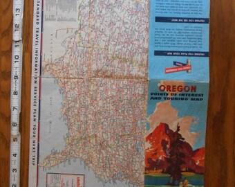 Vintage Oregon Map Etsy - Road map oregon