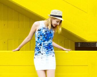 SILLYELVA: Neoprene dress with blue butterfly prints