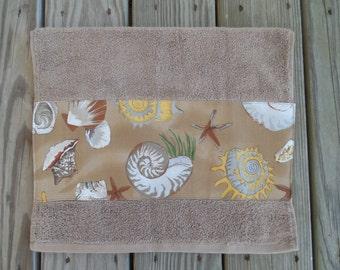 Beach Hand Towel Nautical Shell Guest Bath Decor Tan Brown Yellow Bathroom Decorative Towel