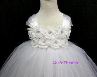 Wedding flower girl dress/ White flower girl dress & big bow/ Junior bridesmaids dress(many colors available)